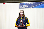 COLUMBUS, OH - MARCH 11: Morgan Phillips of West Virginia University stands with her individual runner-up trophy during the Division I Rifle Championships held at The French Field House on the Ohio State University campus on March 11, 2017 in Columbus, Ohio. (Photo by Jay LaPrete/NCAA Photos via Getty Images)