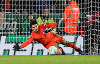 Manchester City 's Arijanet Muric saving a penalty taken by Leicester City 's James Maddison (not shown) <br /> <br /> Photographer Andrew Kearns/CameraSport<br /> <br /> English League Cup - Carabao Cup Quarter Final - Leicester City v Manchester City - Tuesday 18th December 2018 - King Power Stadium - Leicester<br />  <br /> World Copyright © 2018 CameraSport. All rights reserved. 43 Linden Ave. Countesthorpe. Leicester. England. LE8 5PG - Tel: +44 (0) 116 277 4147 - admin@camerasport.com - www.camerasport.com
