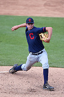 Evan Sperling (12) of Gratton High School in Poquoson, Virginia playing for the Cleveland Indians scout team during the East Coast Pro Showcase on July 31, 2014 at NBT Bank Stadium in Syracuse, New York.  (Mike Janes/Four Seam Images)