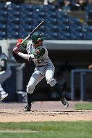 Fort Wayne TinCaps shortstop Fernando Tatis Jr. (23) at bat against the West Michigan Michigan Whitecaps during the Midwest League baseball game on April 26, 2017 at Fifth Third Ballpark in Comstock Park, Michigan. West Michigan defeated Fort Wayne 8-2. (Andrew Woolley/Four Seam Images)