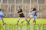 Dr Crokes Ciaran Kennedy gets his pass away against Tralee Parnell's Ryan O'Neill in the North Kerry U13 hurling final at Austin Stack park, Tralee on Friday.