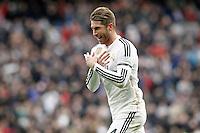 Real Madrid's Sergio Ramos celebrates goal during La Liga match.January 31,2015. (ALTERPHOTOS/Acero) /NortePhoto<br /> /NortePhoto.com