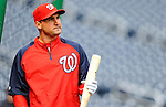 2 April 2011: Washington Nationals third baseman Ryan Zimmerman awaits his turn in the batting cage prior to a game against the visiting Atlanta Braves at Nationals Park in Washington, District of Columbia. The Nationals defeated the Braves 6-3 in the second game of their season opening series. Mandatory Credit: Ed Wolfstein Photo