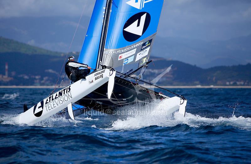 "Yvan Bourgnon and Joris Cocaud training before the attempt of the around Corsica Island record on the Nacra F20 Carbon ""Atlantis Television"", Porticcio, Corsica, France."