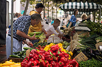 Man shopping for tomatoes at Farmer's Market in Copley Square on St. James Street Boston M