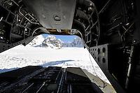 Chinook helicopter at Denali base camp