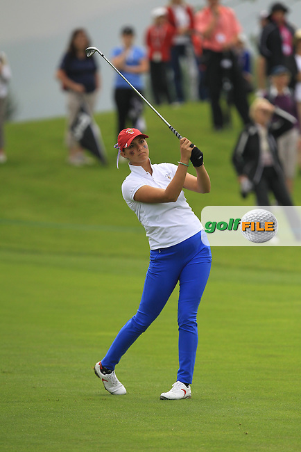 Monica Vaughn on the 14th during the Saturday Mourning Fourbsomes of the 2016 Curtis Cup at Dun Laoghaire Golf Club on Saturday 11th June 2016.<br /> Picture:  Golffile | Thos Caffrey
