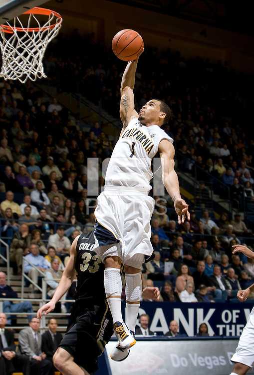 Justin Cobbs of California prepares to dunk the ball during the game against Colorado at Haas Pavilion in Berkeley, California on January 12th, 2012.   California defeated Colorado, 57-50.