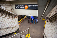 York Street subway station on the F line in the Dumbo neighborhood of New York on Saturday, April 1, 2017. (© Richard B. Levine)