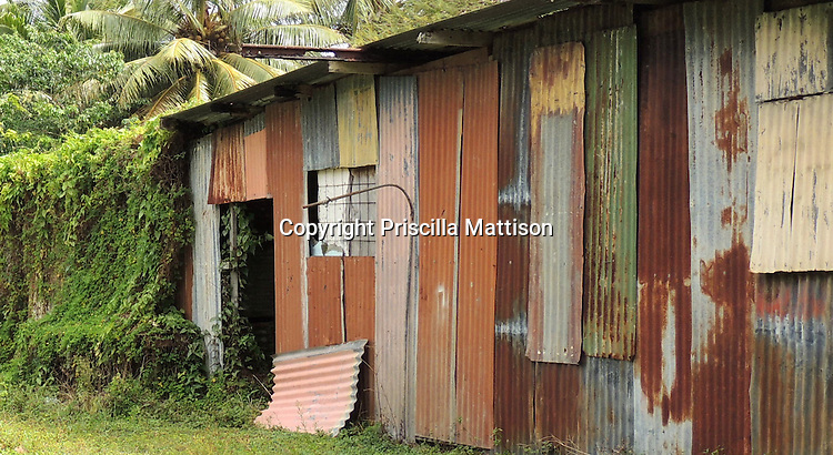 Rarotonga, Cook Islands - September 21, 2012:  A corrugated metal shed is painted in multiple colors.