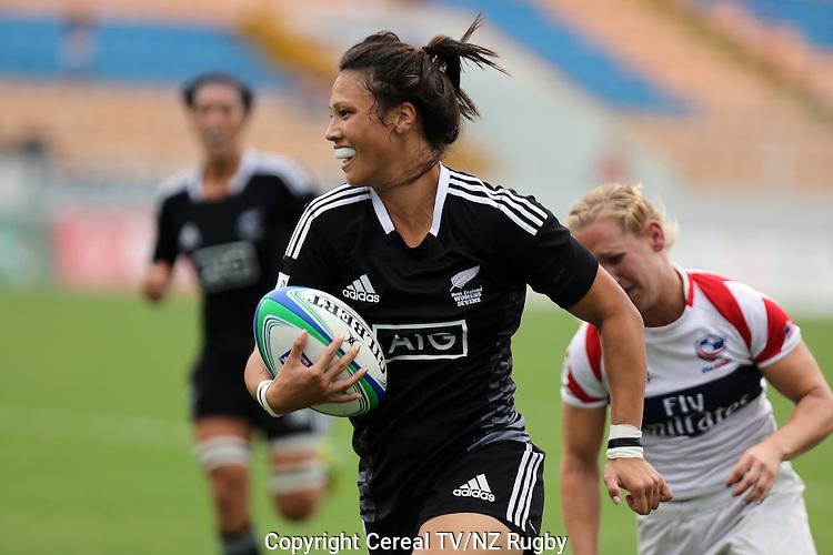 Carla Hohepa. NZ vs. USA. IRB Women's World Series. Sau Paulo, Brazil. 21 February 2014. Photo: Marc Weakley/Cereal TV