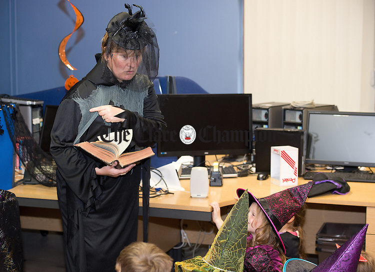 Staff member Silla Lernihan entertaining the children at the Clare Champion Halloween Party for Ennis NS and Holy family school children. Photograph by John Kelly.