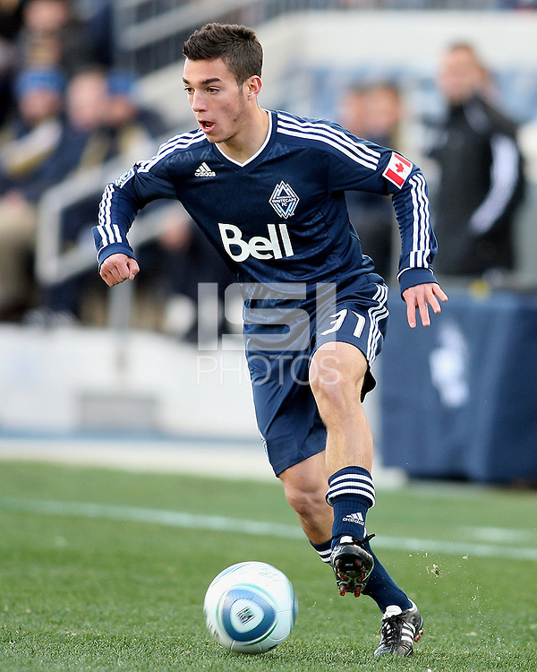 Russell Teibert#31 of the Vancouver Whitecaps during an MLS match against the Philadelphia Union at PPL Park in Chester, PA. on March 26 2011.Union won 1-0.