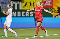 Portland, Oregon - Sunday September 11, 2016: Portland Thorns FC midfielder Dagny Brynjarsdottir (11) celebrates a goal during a regular season National Women's Soccer League (NWSL) match at Providence Park.