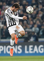 Calcio, andata degli ottavi di finale di Champions League: Juventus vs Bayern Monaco. Torino, Juventus Stadium, 23 febbraio 2016. <br /> Juventus' Claudio Marchisio heads the ball during the Champions League round of 16 first leg soccer match between Juventus and Bayern at Turin's Juventus Stadium, 23 February 2016.<br /> UPDATE IMAGES PRESS/Isabella Bonotto