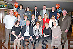 BIRTHDAY: On Friday evening the family of Margaret Reidy Castleisland..treated her to an dinner in O'Riada's bar & Restaurant,..Ballymacelligott for her 70th Birthday. Front l-r: Joan Groves,..maurice Reidy, Margaret Reidy (birthday lady), Margaret Groves and Sr..Assumpta Keane. Centre l-r: Tom Reidy, Sheila Martin, Peggy Gaynor,..Margaret McKenna, Breda Mahony,Sarah Flynn, laura McEvoy and Joe..Martin. Back l-r: David Reidy, Darren Reidy, Colm Flynn, Jerm McKenna..and Michael Gaynor.