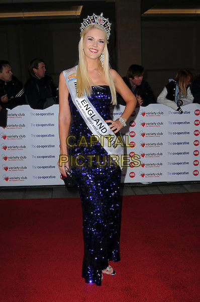JESSICA LINLEY (Miss England) .The Co-operative Variety Club Showbiz Awards, Grosvenor House Hotel, Park Lane, London, England, UK, .14th November 2010. .full length dress sash crown beauty queen purple strapless sparkly sequined sequin dress long maxi .CAP/CAS.©Bob Cass/Capital Pictures.