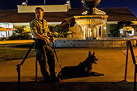 DEL MAR, CA - SEPTEMBER 02: A sheriff's deputy and his k-9 secure the crime scene after shots were fired by a suspect and the suspect was shot by at least one San Diego Sheriff's deputy before an Ice Cube concert at Del Mar Race Track on September 2, 2018 in Del Mar, California (Photo by Casey Phillips/Eclipse Sportswire/Getty Images)