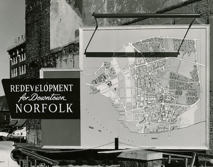 UNDATED..Historical..Map of Redevelopment of downtown Norfolk..Edward W. Fariss Studio.NEG# 6208.NRHA#706-A..