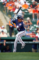 Minnesota Twins shortstop Engelb Vielma (1) at bat during a Spring Training game against the Baltimore Orioles on March 7, 2016 at Ed Smith Stadium in Sarasota, Florida.  Minnesota defeated Baltimore 3-0.  (Mike Janes/Four Seam Images)