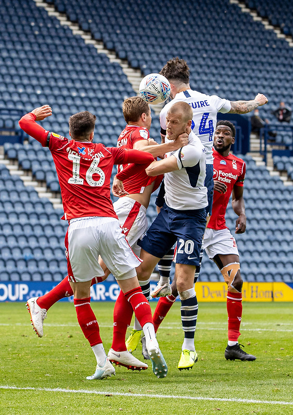 Preston North End's Sean Maguire and Jayden Stockley competing with Nottingham Forest's defence<br /> <br /> Photographer Andrew Kearns/CameraSport<br /> <br /> The EFL Sky Bet Championship - Preston North End v Nottingham Forest - Saturday 11th July 2020 - Deepdale Stadium - Preston <br /> <br /> World Copyright © 2020 CameraSport. All rights reserved. 43 Linden Ave. Countesthorpe. Leicester. England. LE8 5PG - Tel: +44 (0) 116 277 4147 - admin@camerasport.com - www.camerasport.com