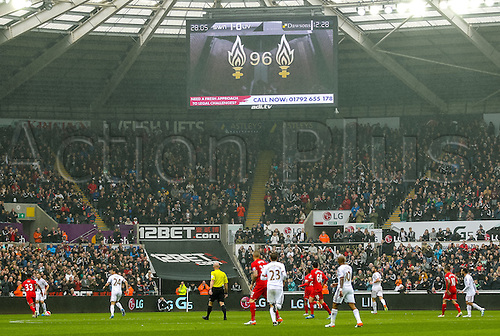 01.05.2016. Liberty Stadium, Swansea, Wales. Barclays Premier League. Swansea City versus Liverpool. The stadium screen shows the Hillsborugh emblem during the match