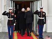 United States Vice President Joe Biden (R) escorts Vice President-elect Mike Pence into the White House before the inauguration on January 20, 2017 in Washington, D.C.  Donald Trump becomes the 45th President of the United States.    <br /> Credit: Kevin Dietsch / Pool via CNP
