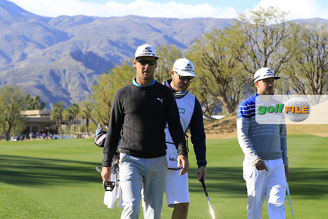 Will Mackenzie (USA) and Jonas Blixt (SWE) on the 1st hole during Saturday's Round 3 of the 2017 CareerBuilder Challenge held at PGA West, La Quinta, Palm Springs, California, USA.<br /> 21st January 2017.<br /> Picture: Eoin Clarke | Golffile<br /> <br /> <br /> All photos usage must carry mandatory copyright credit (&copy; Golffile | Eoin Clarke)