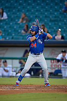 Oklahoma City Dodgers Edwin Rios (24) at bat during a Pacific Coast League game against the New Orleans Baby Cakes on May 6, 2019 at Shrine on Airline in New Orleans, Louisiana.  New Orleans defeated Oklahoma City 4-0.  (Mike Janes/Four Seam Images)