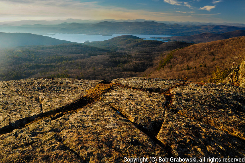 View from the summit of Sleeping Beauty at sunset in the Lake George Wild Forest Area in the Adirondack Mountains of New York State