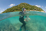 Charlotte Watson snorkels down to collect sand which may contain polychaete worms.