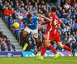 28.09.2018 Rangers v Aberdeen: Alfredo Morelos heads in the third goal fror Rangers
