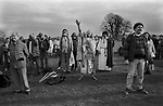 "Avebury Wiltshire, Druid 1996. Chanting incantations to the North, South, East and West. Philip Shallcrass, often known by his Druid name, Greywolf, is Chief of the British Druid Order.  bids farewell to the ""Spirit of the North, the Spirit of the Earth, we thank you for the gifts you have brought us and bid hail and farewell."""