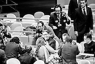 16 Nov 1971 --- The first sitting at the UN of the People's Republic of China (PRC) delegation attracting a great deal of attention in the United Nations General Assembly. The PRC delegation was headed by Chiao Kuan Hua, Vice Minister of Foreign Affairs (C) and, to his left, First UN Ambassador of the People's Republic of China, Huang Hua. On October 25, 1971 the United Nations General Assembly admitted the People's Republic of China as a UN and permanent member of the Security Council, expelling the Republic of China (or nationalist Taiwan). --- Image by © JP Laffont