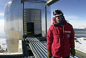 Jerry Marty oversees construction of the US Antarctica Program's new South Pole quarters at Amundsen Scott South Pole Station in January, 2001.