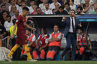 Uefa Champions League football match Real Madrid vs AS Roma at the Santiago Bernabeu stadium in Madrid on September 19, 2018.<br /> Eusebio Di Francesco