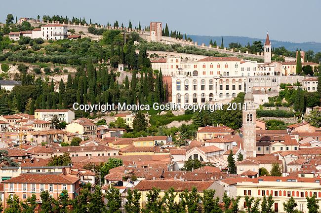 View of Verona, Italy from the Lamberti Tower.