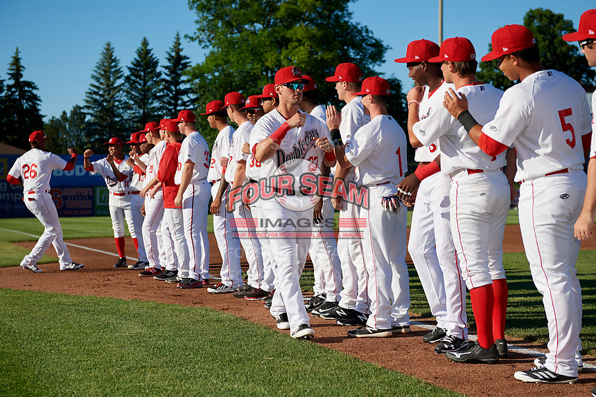 Auburn Doubledays shortstop Matt Reynolds (27) during introductions before a game against the Batavia Muckdogs on June 15, 2018 at Falcon Park in Auburn, New York.  Auburn defeated Batavia 5-1.  (Mike Janes/Four Seam Images)