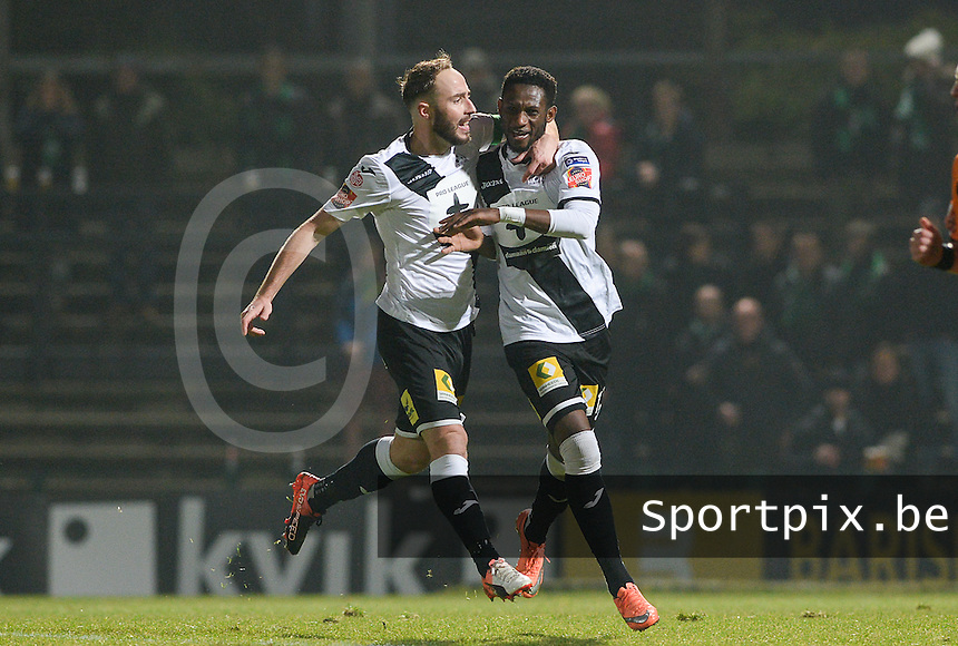 20161217 - ROESELARE , BELGIUM : Roeselare's Ebrahima Ibou Sawaneh (r) pictured celebrating his goal with teammate Raphael Lecomte (left)  during the Proximus League match of D1B between Roeselare and Cercle Brugge, in Roeselare, on Saturday 17 December 2016, on the day 20 of the Belgian soccer championship, division 1B. . SPORTPIX.BE | DAVID CATRY