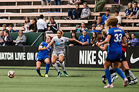 Seattle, WA - Sunday, August 13, 2017: Lauren Barnes, Jessica McDonald during a regular season National Women's Soccer League (NWSL) match between the Seattle Reign FC and the North Carolina Courage at Memorial Stadium.