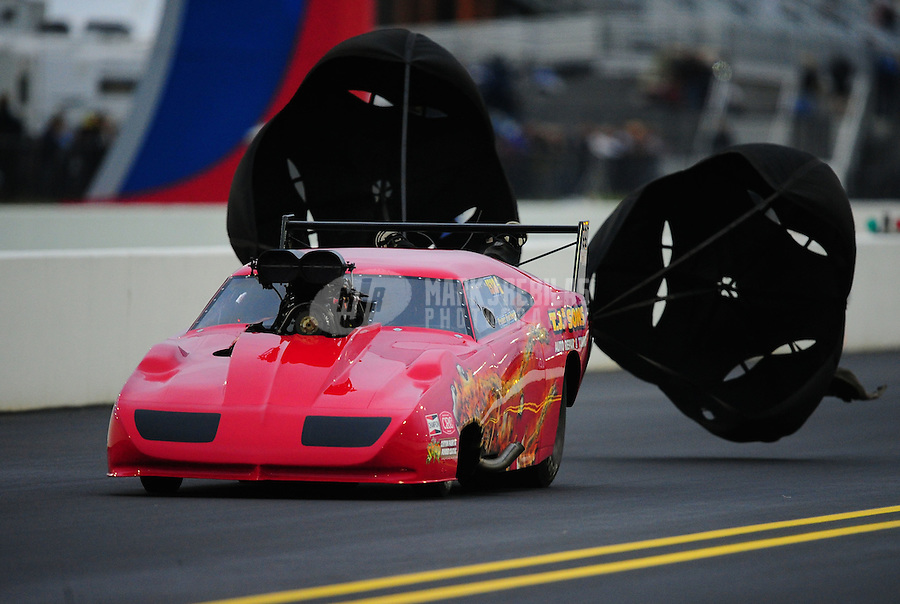 Sept. 16, 2011; Concord, NC, USA: NHRA pro mod  driver Peter Farber  during qualifying for the O'Reilly Auto Parts Nationals at zMax Dragway. Mandatory Credit: Mark J. Rebilas-US PRESSWIRE