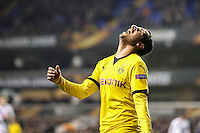 Gonzalo Castro of Borussia Dortmund shows his frustration after missing a good chance to score a second goal for Borussia Dortmund during the UEFA Europa League match between Tottenham Hotspur and Borussia Dortmund at White Hart Lane, London, England on 17 March 2016. Photo by David Horn / PRiME Media Images