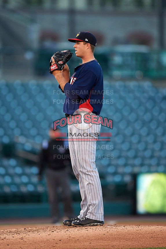 Toledo Mudhens pitcher Buck Farmer (30) gets ready to deliver a pitch during a game against the Rochester Red Wings on May 12, 2015 at Frontier Field in Rochester, New York.  Toledo defeated Rochester 8-0.  (Mike Janes/Four Seam Images)