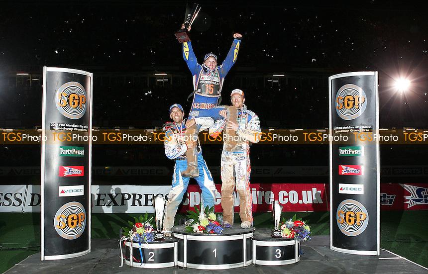 Greg Hancock Runner-Up (left), Chris Harris Winner (Center) and Jason Crump Third (Right) - British Speedway Grand Prix at the Millenium Stadium, Cardiff - 30/06/07 - MANDATORY CREDIT: Rob Newell/TGSPHOTO