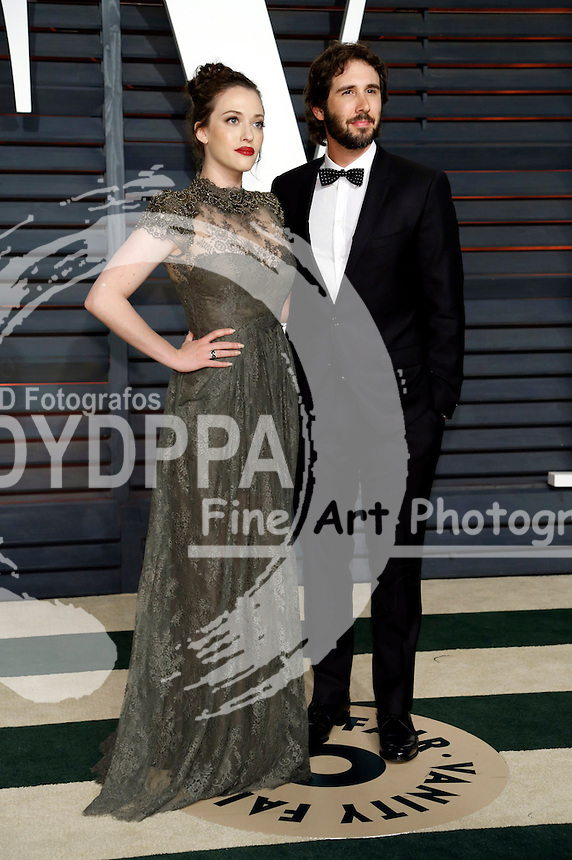 Kat Dennings and Josh Groban attending the Vanity Fair Oscar Party 2015 on February 22, 2015 in Beverly Hills, California.