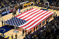 A flag is shown during national anthem before the game between Californi and UC Irvine at Haas Pavilion in Berkeley, California on November 11th, 2011.  California defeated UC Irvine, 77-56.