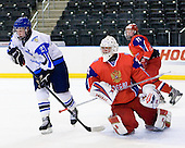 Toni Rajala (Finland - 21), Igor Bobkov (Russia - 29) - Russia defeated Finland 4-0 at the Urban Plains Center in Fargo, North Dakota, on Friday, April 17, 2009, in their semi-final match during the 2009 World Under 18 Championship.