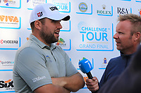 Jack Senior (ENG) being interviewed by Mikko Illenen (FIN) after Round 3 of the Challenge Tour Grand Final 2019 at Club de Golf Alcanada, Port d'Alcúdia, Mallorca, Spain on Saturday 9th November 2019.<br /> Picture:  Thos Caffrey / Golffile<br /> <br /> All photo usage must carry mandatory copyright credit (© Golffile | Thos Caffrey)