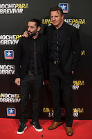 Movie director Jaume Collet-Serra (L) and Irish actor Liam John Neeson pose during Run All Night `Una noche para sobrevivir´ film premiere in Madrid, Spain. March 24, 2015. (ALTERPHOTOS/Victor Blanco) /NORTEphoto.com