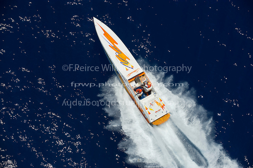 19-22 June, 2008 OSS Sunny Isles Beach.42' Tiger Cigarette, driver Rob Freeman throttles Dave Sikorski.©2008 F.Peirce Williams  .